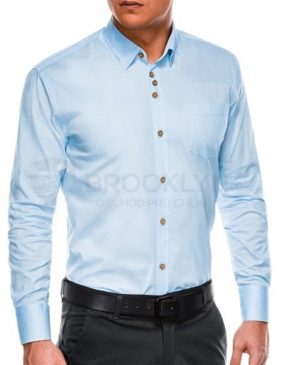 Pánská elegantní košile s dlouhým rukávem K302 - světle modrá