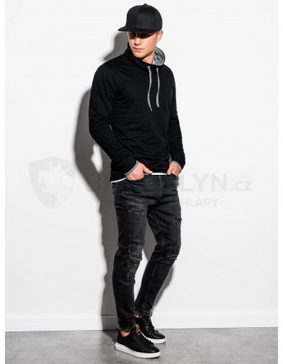 Men's sweatshirt with a stand-up collar B1015 - black