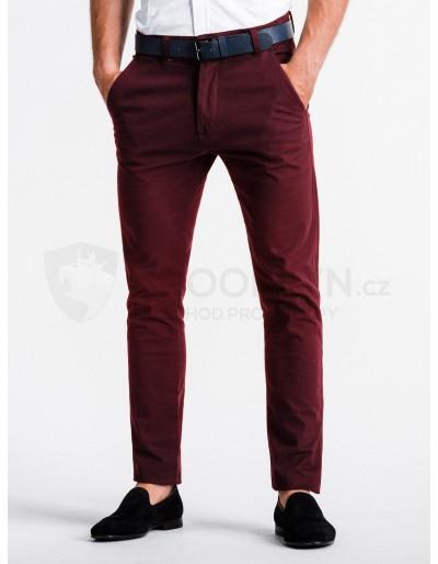 Pánské kalhoty chinos P830 - tmavě červené