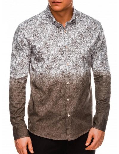 Pánská košile s dlouhým rukávem K513 - hnědá