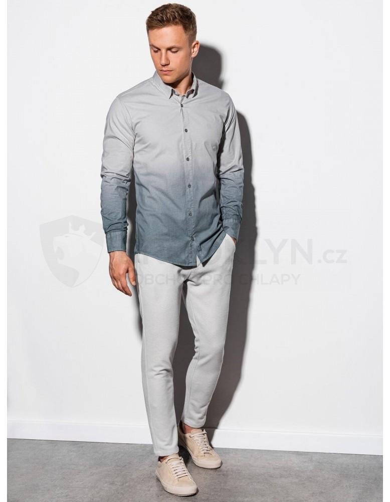 Pánská košile s dlouhým rukávem K514 - světle šedá