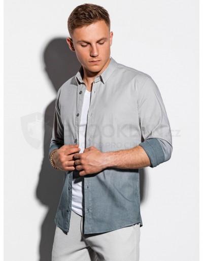 Men's shirt with long sleeves K514 - light grey