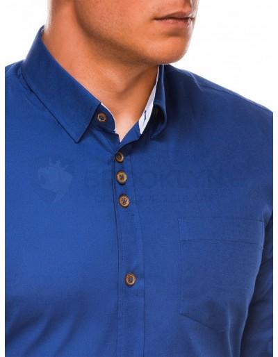 Men's elegant shirt with long sleeves K302 - light navy