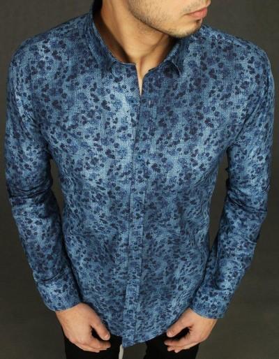 Modré pánské tričko se vzory DX2025