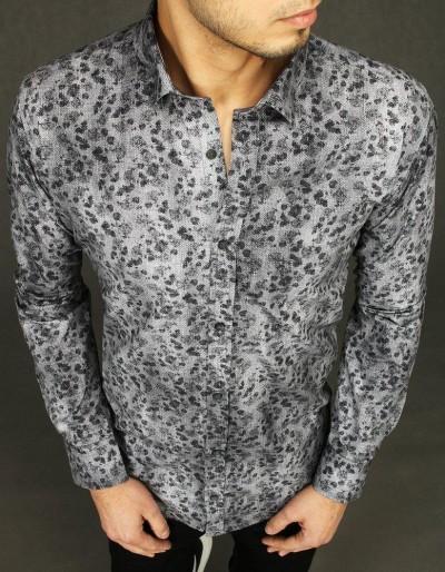 Šedá pánská košile se vzory DX2026