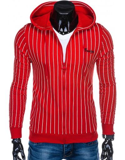 Pánská mikina s kapucí B1038 - červená