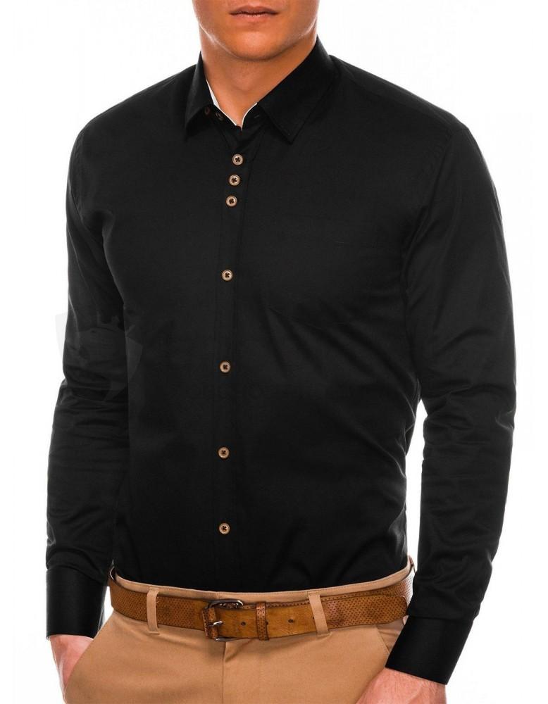 Pánská elegantní košile s dlouhým rukávem K302 - černá