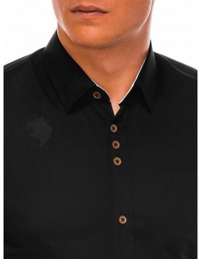 Men's elegant shirt with long sleeves K302 - black