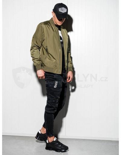Men's mid-season bomber jacket C439 - green