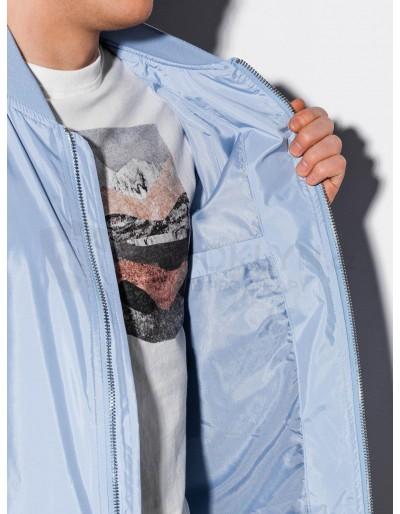Men's autumn bomber jacket C439 - light blue