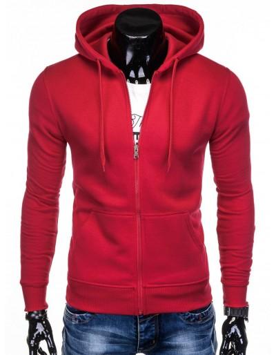 Pánská mikina na zip B895 - červená