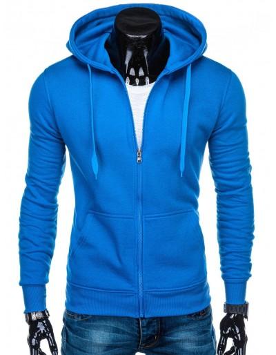 Pánská mikina na zip B895 - modrá