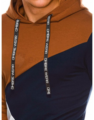 Men's hoodie B1050 - navy/brown