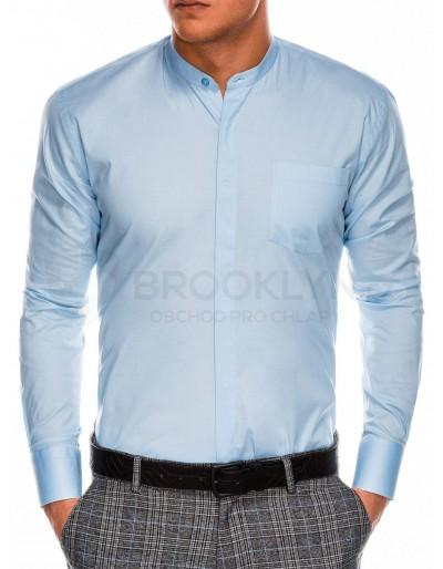 Pánská elegantní košile s dlouhým rukávem K307 - světle modrá