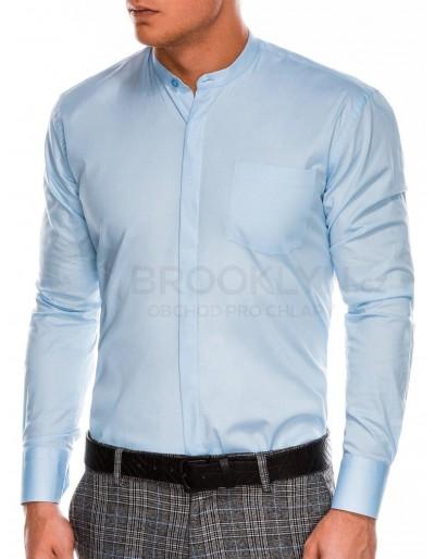 Men's elegant shirt with long sleeves K307 - light blue