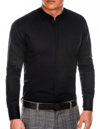 Pánská elegantní košile s dlouhým rukávem K307 - černá