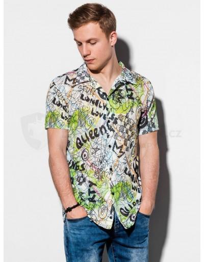 Pánská košile s krátkým rukávem K546 - zelená