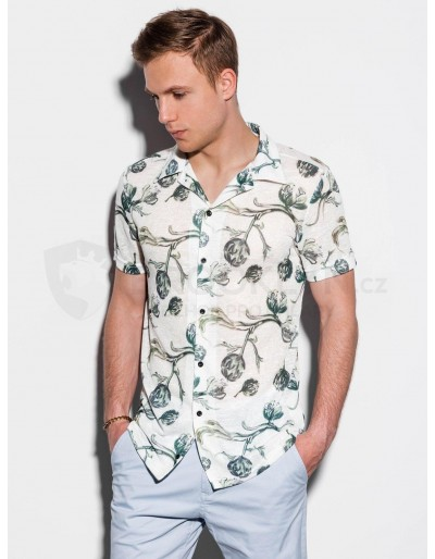Men's shirt with short sleeves K547 - ecru