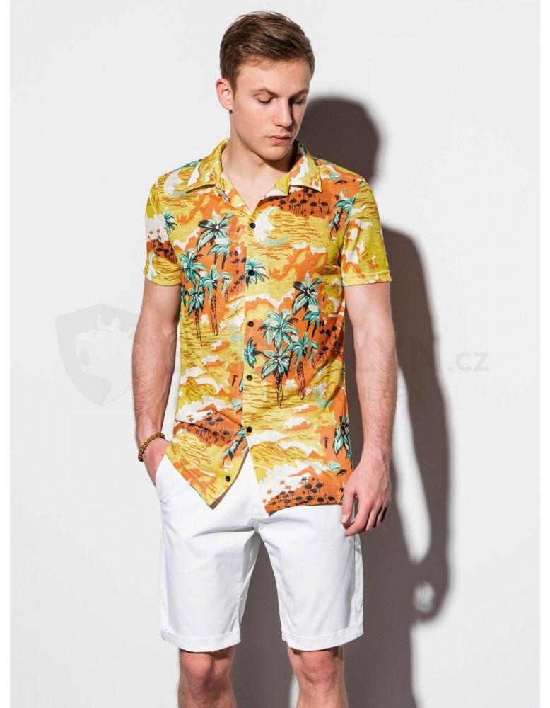 Pánská košile s krátkým rukávem K548 - žlutá