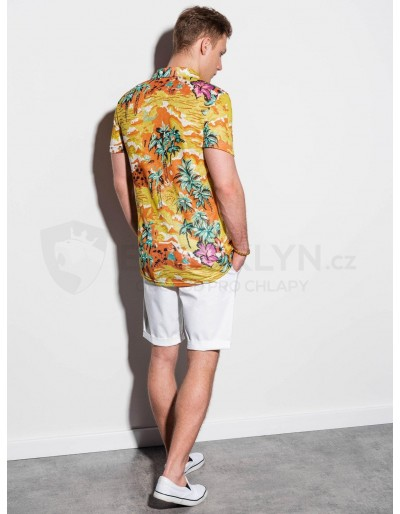Men's shirt with short sleeves K548 - yellow