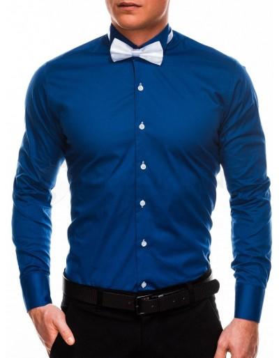 Pánská elegantní košile s dlouhým rukávem K309 - námořnická