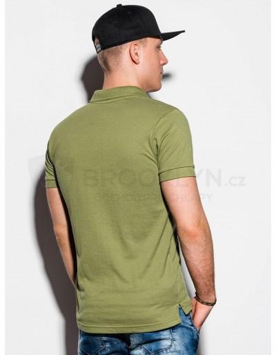 Men's plain polo shirt S1048 - dark green