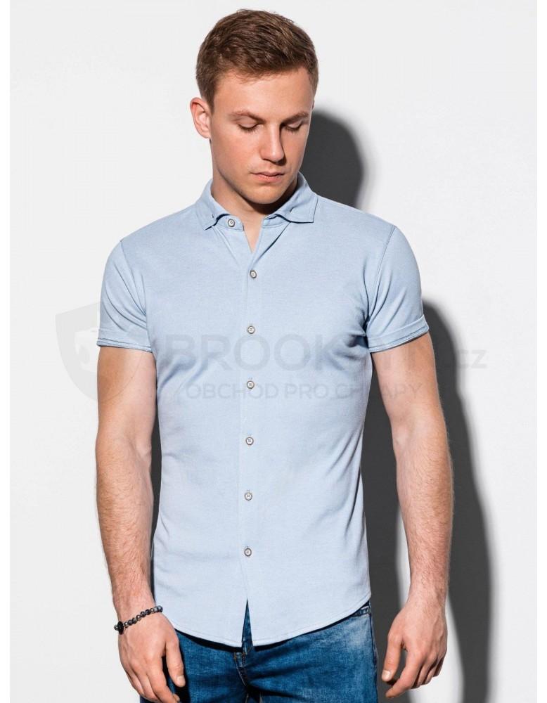 Pánská košile s krátkým rukávem K541 - modrá