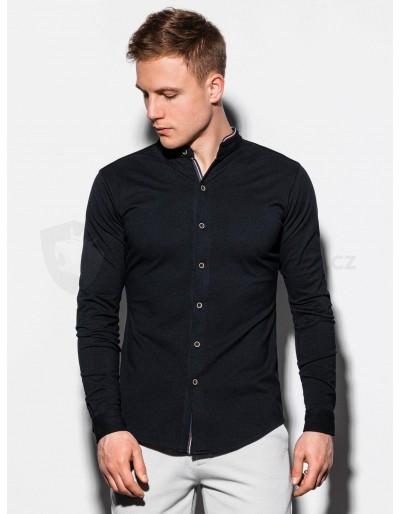 Pánská košile s dlouhým rukávem K542 - černá