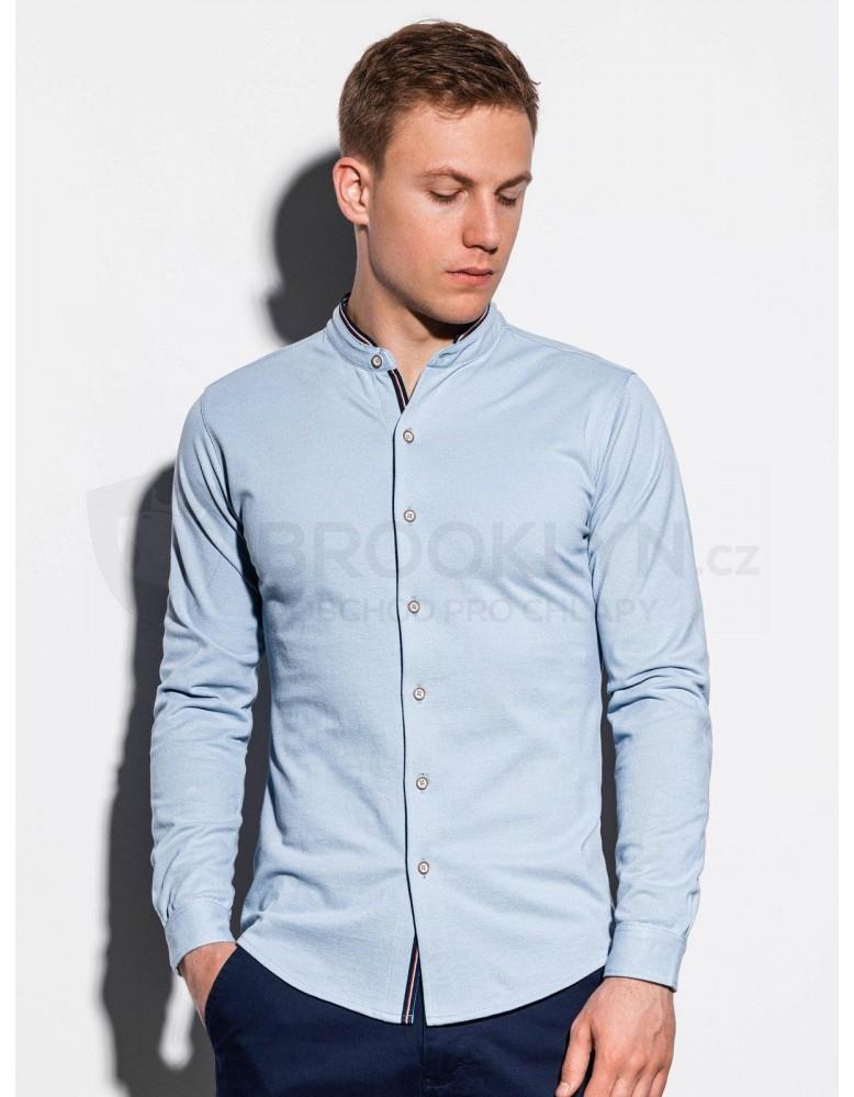 Pánská košile s dlouhým rukávem K542 - modrá