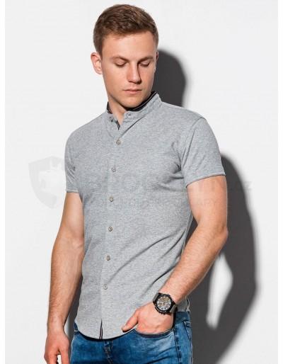 Pánská košile s krátkým rukávem K543 - šedá