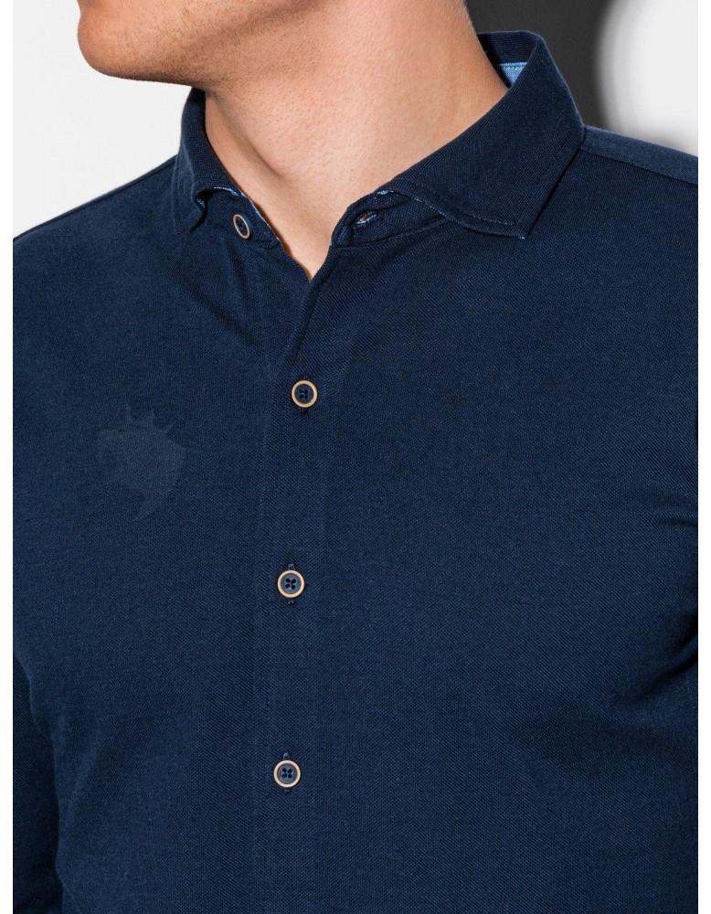 Pánská košile s dlouhým rukávem K540 - námořnická