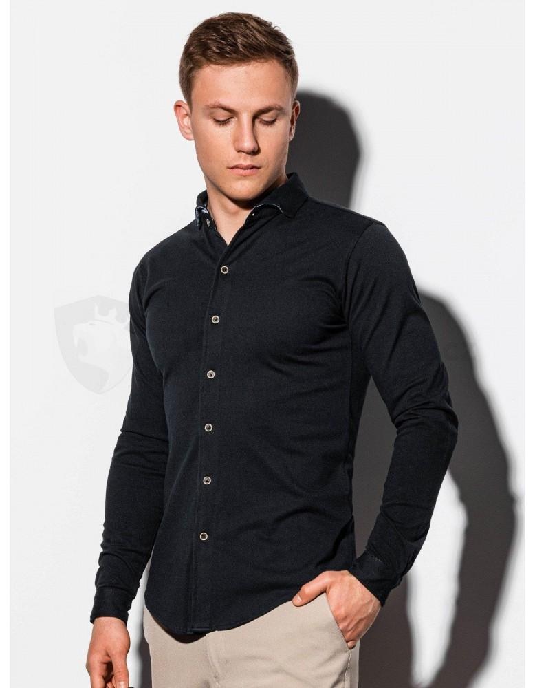 Pánská košile s dlouhým rukávem K540 - černá