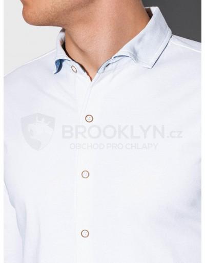 Pánská košile s dlouhým rukávem K540 - bílá