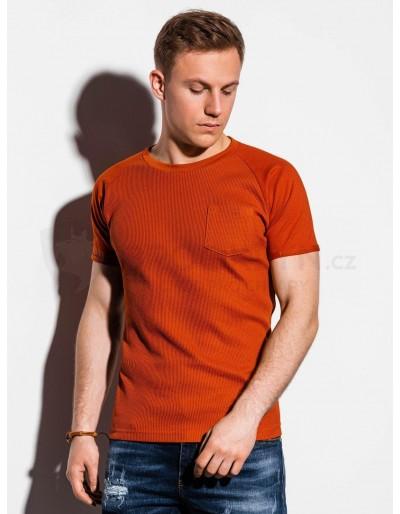 Pánské obyčejné tričko S1182 - cihlové