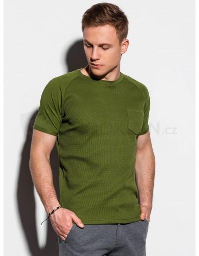Pánské obyčejné tričko S1182 - olivové