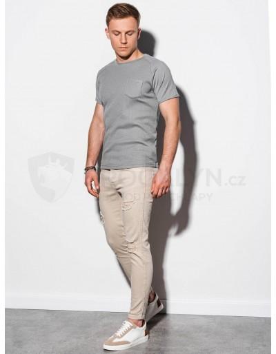Pánské obyčejné tričko S1182 - šedé
