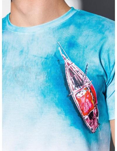 Men's printed t-shirt S1193 - light blue