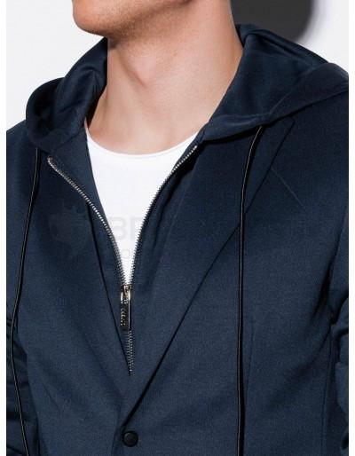 Men's casual hooded blazer jacket M156 - navy