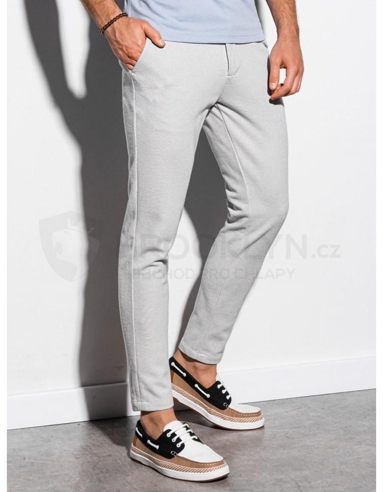 Pánské kalhoty chinos P891 - světle šedé