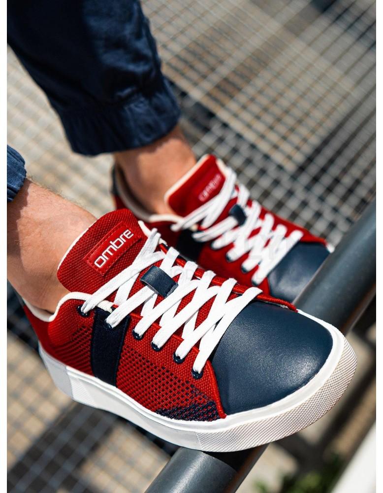 Pánské vysoké tenisky T344 - červená / modrá