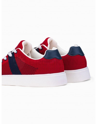 Men's high-top trainers T344 - red/navy