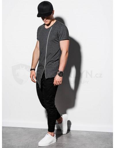 Pánské obyčejné tričko S1217 - tmavě šedé