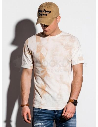 Pánské tričko Tie-Dye S1219 - béžové