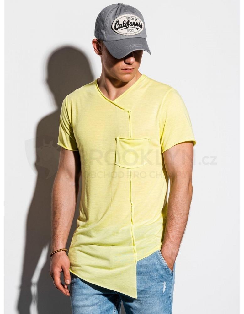 Pánské obyčejné tričko S1215 - žluté