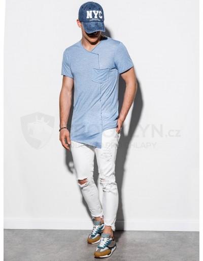 Pánské obyčejné tričko S1215 - světle modré