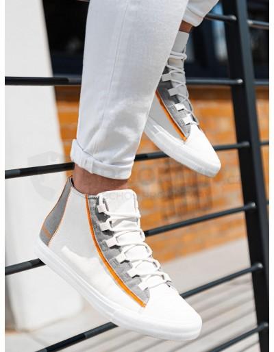 Pánské vysoké tenisky T343 - bílé