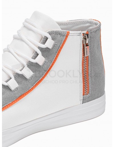 Men's high-top trainers T343 - white