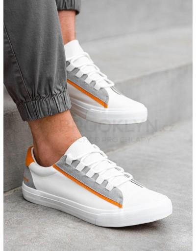 Pánské vysoké tenisky T346 - bílá / oranžová