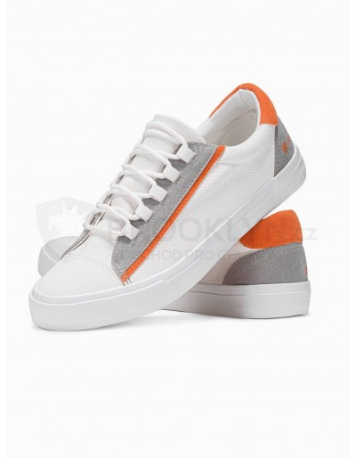 Men's high-top trainers T346 - white/orange