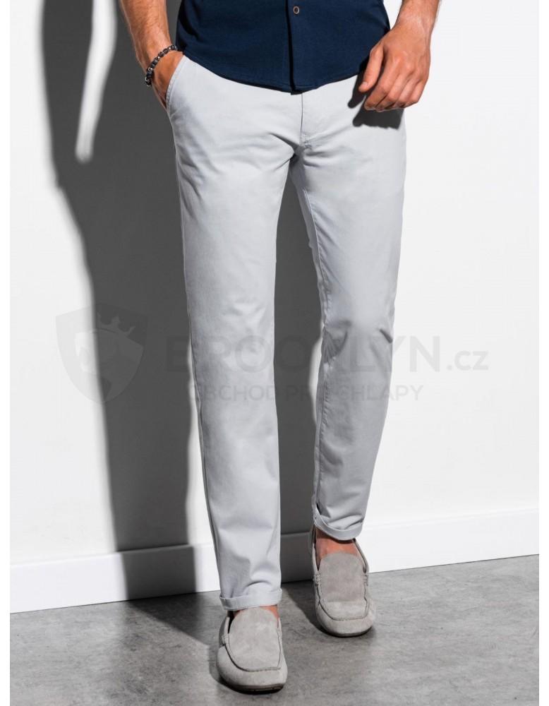 Pánské kalhoty chinos P894 - světle šedé
